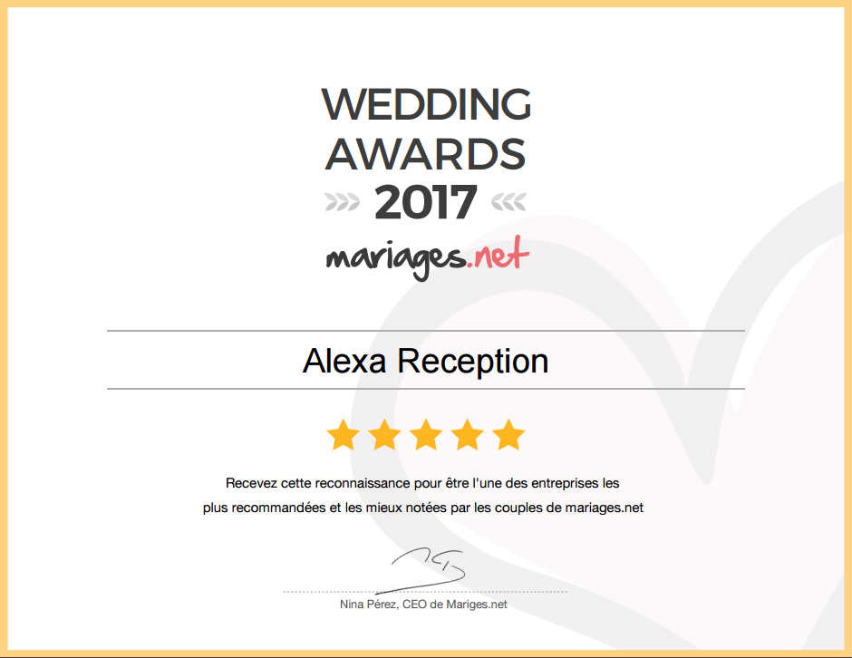 weddingaward2017mariagesnet alexa reception